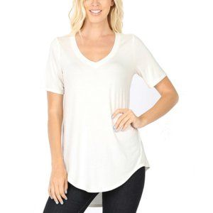 IVORY Hi-Low Short Sleeve V-Neck Luxe T-Shirt